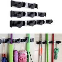 Multiduction Aluminium Wall Mounted Mop Broom Holder Brush Rack Cloth Hanger