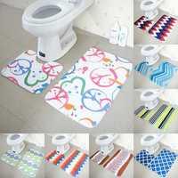 2pcs Non Slip Water Absorbent Polyester Bathroom Floor Mat Set Home Carpet Shower Rug