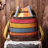 Women Patchwork National Bucket Bag Backpack