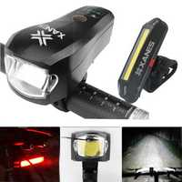 XANES SFL04 750LM T6 German Standard Smart Bicycle Light and 500LM USB Rechargeable LED Bike Taillight Set