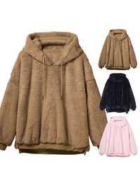 Women Pure Color Fleece Thicken Long Sleeve Hoodies