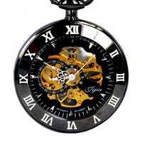 JIJIA JX004 Self-wind Mechanical Round Dial Retro Pocket Watch