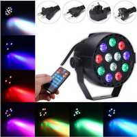 12W RGB Crystal LED Ball Stage Light Voice Mode Remote Control Light For DJ Disco Halloween Party