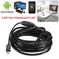 3.5M 7mm 6 LED Hard Materials Android Borescope Waterproof Borescope Inspection Camera