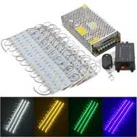 80PCS 5 Colors SMD5050 LED Module Store Strip Light Front Window Lamp + Power Supply + Remote DC12V