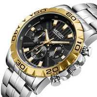 MEGIR 2087 Business Hardlex Mirror Luminous Men Quartz Watch