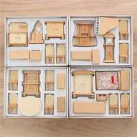 New 29 Pcs 1:24 Scale Dollhouse Miniature Unpainted Wooden Furniture Model Suite