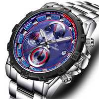 WISHDOIT WSD-018 Sport Stainless Steel Strap Men Watch