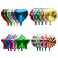 1Pcs 18'' Aluminum Foil Balloon Metallic Heart Star Lollipop Shape Wedding Party Decor Supply
