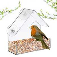 Acrylic Transparent Bird Squirrel Feeder Tray Birdhouse Window Suction Cup Mount
