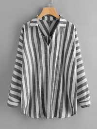Plus Size Stripe V-neck Long Sleeve Button Back Blouse