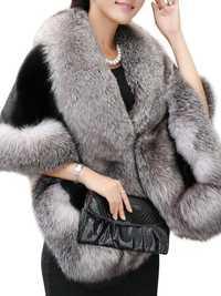 Elegant Women Faux Fur Shawl Cloak