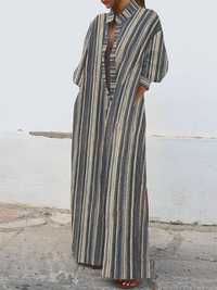 Women 3/4 Sleeve Striped Casaul Maxi Kaftan Long Shirt Dress