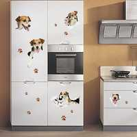 Creative Cartoon 3D Cute Dog PVC Broken Wall Sticker DIY Removable Decor Waterproof Wall Stickers Household Home Wall Sticker Poster Mural Decoration for Bedroom Living Room Wardrobe Refrigerator