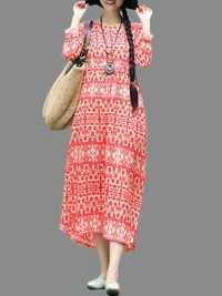 Vintage Women Loose Cotton Linen Floral Print Dress