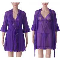 Three-piece Women Sexy Transparent Mesh Slip Dress Pure Color Robe Sleepwear Sets