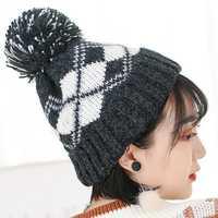 Women Winter Plaid Ski Knit Beanie Hat Earmuffs Skull Cap
