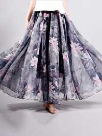 Chiffon Floral Printed Elastic Waist Boho Maxi Skirt