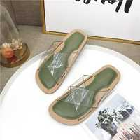 Women Roman Transparent Flat Slippers