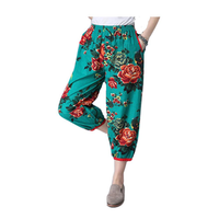 Women Yoga Pants Original Oversized Loose Elastic Printing Waist Cotton Linen Bloomers Nepal Style