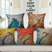 Honana 43x43cm 3D Vintage Flower Elephant Cotton Linen Pillow Case Cushion Cover Home Car Decor