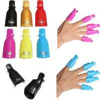 5Pcs/Set Plastic Nail Art Soak Off Cap Clip UV Gel Polish Remover Wrap Cap Clip Tool