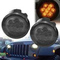 Pair 2000K LED Somke Len Amber Front Turn Signal Lights For Jeep Wrangler 07-15