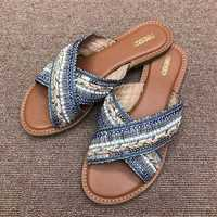 Bohemian Beach Slippers Cross Band Casual Flat Sandals