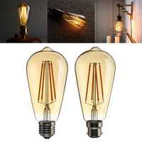 B22/E27 Dimmable ST64 LED 4W Vintage Globe Cage Edison Filament Light Bulb Lamp AC220V