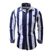 Stripe Printing Business Fashion Cotton Soft Casual Long Sleeve Men Dress Shirts
