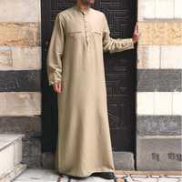 Mens Vintage Tunic Style Long Shirts Popover Kaftan Dress