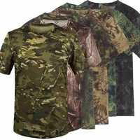 Summer Racing Sports Army Camo Tee Camouflage T-Shirt Short Sleeved Casual Hunting
