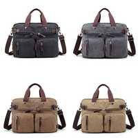 4 Styles Canvas Convertible Backpack Briefcase Multi-Pocket Laptop Bag Messenger Shoulder Bag