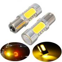 2Pcs 1156 BAU15S PY21W 7.5W LED COB Car Turn Signal Backup Lights Bulb Lamp Amber 12V