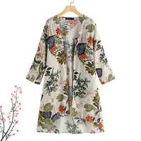 Women Long Sleeve Floral High Low Hem Cardigan