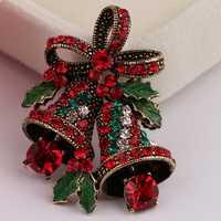 Christmas Retro Bell Festive Brooch Pin Gift Shirt Collar Brooch Sliver & Gold