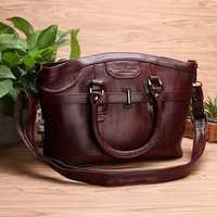 Women Genuine Leather Vintage Oil Wax Handbag