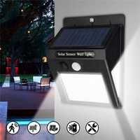 LED Solar Power Light PIR Motion Sensor Garden Yard Wall Lamp Security Outdoor