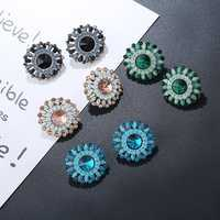 Luxury Crystal Rhinestone Stud Earrings Bohemian Flower