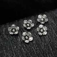 s925 5pcs Sterling Silver Flower Beads DIY Jewelry Fittings Accessories