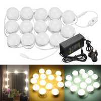 AC100-240V 14PC Hollywood Style LED Vanity Mirror Light Kit for Makeup Dressing Table + UK Plug