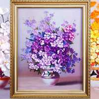50x58cm 3D Silk Ribbon Purple Flower Cross Stitch Kit Embroidery DIY Handwork Home Decoration