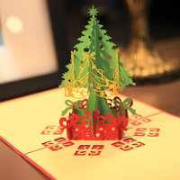 Merry Christmas Tree 3D Card Laser Cut Paper Christmas Greeting Cards Christmas Gifts