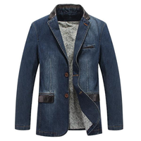 Mens Outdoor Jackets Stylish Suits Stitching Denim Blazers
