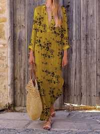 Women Cotton Linen Casual V Neck Floral Print Maxi Dress