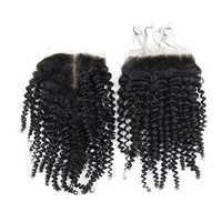 4*4 Brazilian Kinky Curly 100% Human Hair Extensions Lace Closure
