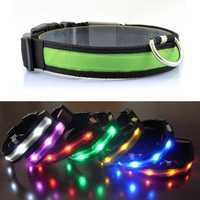Outdoor Nylon LED Pet Dog Collar Night Safety Anti-lost Flashing Glow Collars Supplies