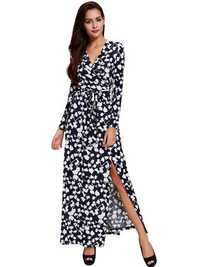 Women Sexy V-Neck Long Sleeve Printed Belt Maxi Dress