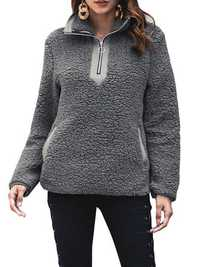 Women Fluffy Warm Pollover Casual Solid Color Hoodies