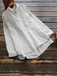 Striped Pocket Button Vintage Blouse